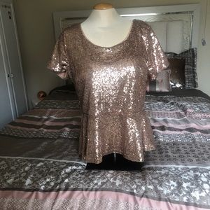 Forever 21 + rose gold sequins peplum top size 2X